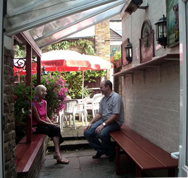 Smoking area at Prince of Wales Pub Oatlands Village, between Weybridge and Walton On Thames Surrey
